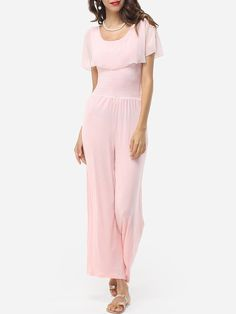 Product Name: Plain Falbala Courtly Round Neck Jumpsuits       Weight: 46(g)   Pants Length: Long