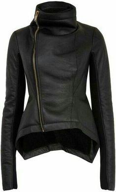 Rick Owens Black Naska Faux Shearling Biker Jacket - I think I might like to try a leather jacket. Look Fashion, Winter Fashion, Womens Fashion, Nail Fashion, Lolita Fashion, Fashion Styles, Fashion Fashion, Fashion Dresses, Mode Top