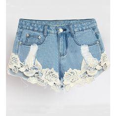 LUCLUC Blue Lace Panel Denim Shorts ($24) ❤ liked on Polyvore featuring shorts, denim short shorts, blue jean shorts, blue denim shorts, blue shorts and denim shorts