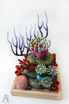 Needle felted coral reef