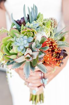 """Once you see a bouquet of succulents it's easy to say """"""""I do"""""""". Whether it's all succulents or succulents with mixed flowers it'll be a bouquet to remember. Bouquet Bride, Wedding Bouquets, Wedding Dresses, Boquet, Protea Bouquet, Bouquet Flowers, Table Flowers, Floral Wedding, Wedding Colors"""