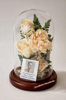 Preserved Memorial Flowers in a glass dome  www.freezeframeit.com