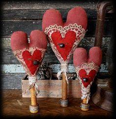 primitive vintage valentine heart make do