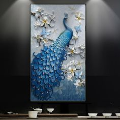 DIY 5D Diamond Painting Cross Stitch Square Diamonds Embroidery Shinning Blue Peacock and Good Fortune Diamond Mosaic Home Decor #Affiliate
