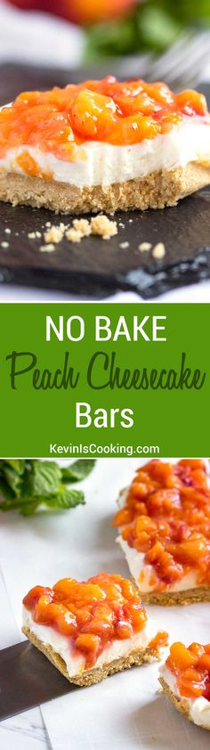 Fresh peaches top this amazingly fluffy no bake cheesecake bar with a ground oat an graham cracker base. So good! Double this, they go quick every time! via @keviniscooking