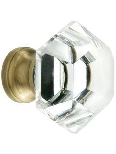 Hexagonal Cut Crystal Knob With Solid Brass Base | House of Antique Hardware