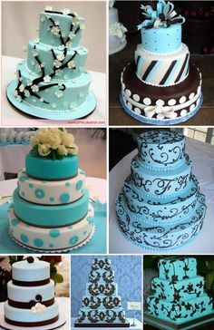 ♥Love this color combination...I want the second one down on the right for our 5th anniversary cake♥