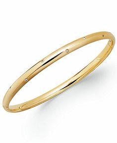 14k Gold Diamond Accent Bangle Bracelet - Bracelets - Jewelry & Watches - Macy's