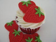 Strawberry Fondant Cake Topper by YourCupcakeStory on Etsy, $18.00