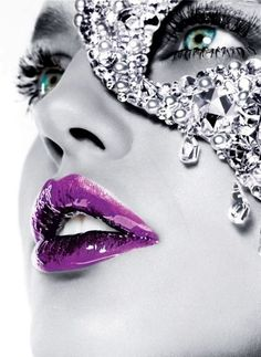 purple lips, blue eyes and crystal mask for sexy evening events, a masquerade party, Wild Side Destinations The Purple, Purple Stuff, All Things Purple, Purple Haze, Shades Of Purple, Purple Glitter, Color Splash, Color Pop, Lip Colour