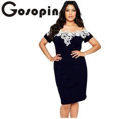 c67fe7e054 Gosopin Elegant Ladies Sexy Short Sleeve Lace Crochet Off Shoulder Black  Plus Size Pencil Dress Party Vestidos robe LC61083