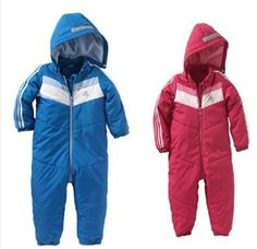 Branded Baby Boys and Girls Rompers Windproof Hooded Sports Romper Suit Winter Cotton Leotard Snowsuit for Toddler Infant 0-2T $13.50