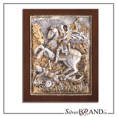 Exact copy of byzantine silver icon depicting Saint Dimitrios. Manufactured with respect for tradition and attention to quality in selected Greek workshop, made of silver partially gold plated with gold Byzantine, Handmade Silver, Saints, Lion Sculpture, Greek, Icons, Statue, Gold, Art