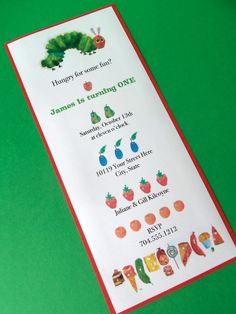 Very Hungry Caterpillar Invitation Eric Carle Kids Birthday Party Baby Shower
