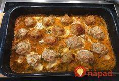 Výborný obed za 30 minút. Rýchle a veľmi veľmi chutné jedlo.  Potrebujeme:  400 g mleté mäso (kuracie, bravčové alebo hovädzie)    1 ks cibuľa    1-2 strúčiky cesnak    1 lyžička kremžská horčica    Soľ, korenie, majorán, bazalka, petržlen    Ďalej:    1 ks mozzarella alebo parenica, prípadne iný Beef Recipes, Cooking Recipes, Polish Recipes, Food Humor, Healthy Dinner Recipes, Sausage, Seafood, Easy Meals, Good Food