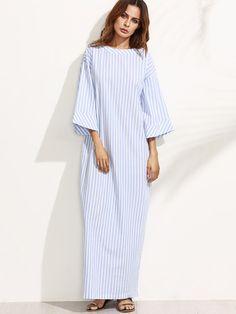 Синее полосатое макси платье с бантом