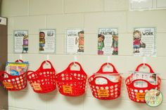 Mount baskets on the wall using 3M hooks to store centers off valuable table space.