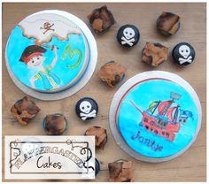 Pirate cake, handpainted cake, treasure map, skull cupcakes. Piraten taart, handgeschilderd, schatkaart, doodshoofd cupcakes