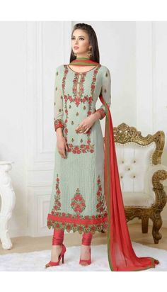 Light Sea Green Georgette Churidar suit Online  http://www.andaazfashion.co.uk/salwar-kameez/churidar-suits