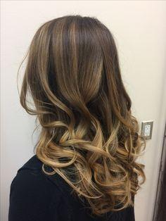 Side profile. Ombré hair