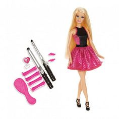 Future fashionistas can experiment with different hairstyles and looks for Barbie and her long blonde locks. Fashionably dressed Barbie included Includes 2 no-heat curling irons, 4 no-heat rollers, brush, 2 barrettes, 3 rubber bands with label art For ages 3 years and up