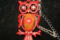 Orangey Owl Necklace with Rhinestone eyes and clay by GeniceRill, $20.00