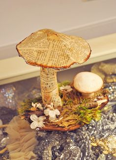 Eye Candy Creations is the creative life and style of Jennifer Hayslip. Book Crafts, Fun Crafts, Diy And Crafts, Arts And Crafts, Paper Crafts, Mushroom Crafts, Mushroom Art, Book Sculpture, Altered Art