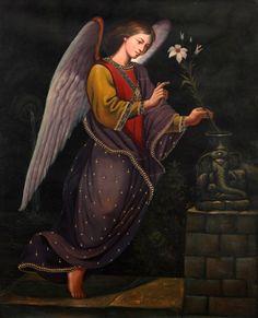 """""""San Gabriel Archangel"""" (2009), By Joel Espinoza Chamorro, Oil on Canvas, Joel Espinoza Chamorro: Artista Plastico, Zárate, Lima, Perú. #angels"""