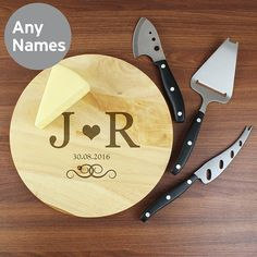 Cheese Board and Knife Set UK - Personalised Monogram Cheese Board and Knife Set