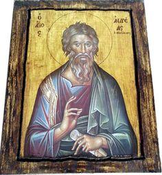 Saint St. Andrew - The Αpostle - Orthodox Byzantine icon on wood handmade (22.5 cm x 17 cm)