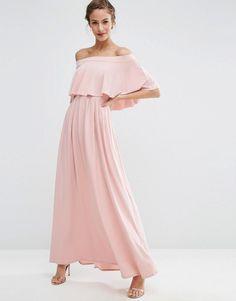 ASOS WEDDING Off Shoulder Frill Maxi Dress