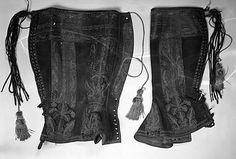 Late 19th century Spanish Gaiters.  Leather, metal, silk.  Dimensions:  17 in. (43.2 cm)  I am going to recreate these when I get the chance because... WANT!