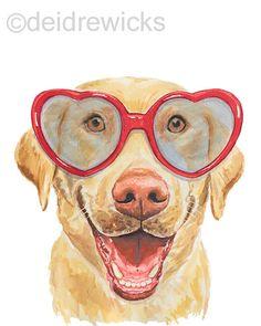 Labrador Watercolor PRINT - 8x10 Lab Watercolour, Labrador Retriever, Happy Dog, Dog Watercolor, Animal art