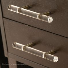 """I finally found my drawer pulls! Optimism Lucite Rail Pull - 6"""" from Atlas"""