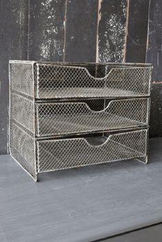 Aged Metal Storage Desk Drawer Tidy