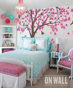 Large Family Tree vinyl decal, nursery vinyl wall decal, tree wall decal, Vinyl Wall bird sticker