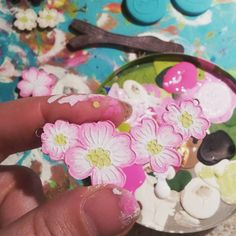 Finger palette (also why I can't keep a manicure). In case you didn't know all my pieces are hand painted. #WIP pic #handmadejewelry #handmade #imadethis #handpainted #etsy #blockpartypress #charmcitycraftmafia #WIPWednesday #thisismyjob #etsyseller #etsyshop #maker #makersgonnamake #workinprogress by blockpartypress