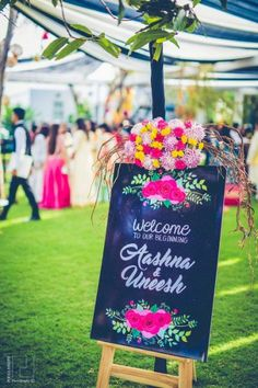 Looking for latest Outdoor Wedding Decorations? Check out the trending images of the best Indian Outdoor Wedding Decoration ideas. Desi Wedding Decor, Wedding Stage Decorations, Engagement Decorations, Backdrop Decorations, Birthday Decorations, Wedding Props, Wedding Ideas, Wedding Signage, Trendy Wedding