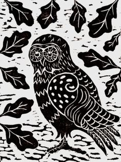 Owl by Anne Hutchings (1943).  Anne has lived and worked in London all of her life. Linocut prints has been her preferred medium for the past decade. Her work is based on Celtic and Medieval art.  A unique greeting card based on Mythological Owls of ancient Athens. Blank card published by Art Cove.