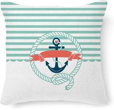 Nautical Aqua throw pillow from Print All Over Me