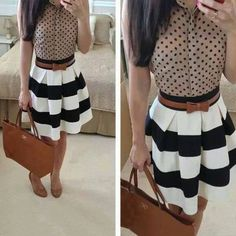 This outfit is so cute & fun . Stripes & dots for work or brunch