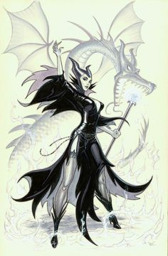 Maleficent by Michael Dooney, in Alex Johnson's Kathy's Art Collection Comic Art Gallery Room Maleficent Art, Sleeping Beauty Maleficent, Malificent, Disney Fan Art, Disney Love, Disney Stuff, Walt Disney, Pin Up, Princesa Disney