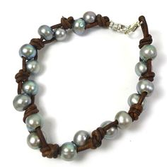 Leather and Pearl Knotted Bracelet with large-hole pearls.