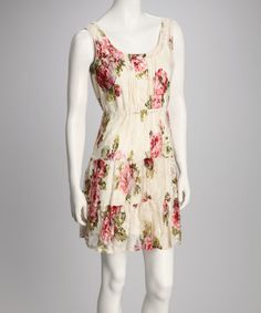 Take a look at this Ivory & Rose Floral Lace Overlay Empire-Waist Dress by A List & Love Squared on @zulily today!