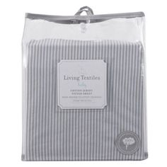 Grey Stripe Jersey Fitted Cot Sheet