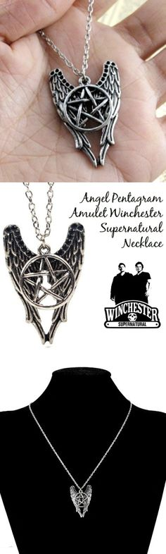 Angel Pentagram Amulet Winchester Supernatural Necklace! Click The Image To Buy It Now or Tag Someone You Want To Buy This For.  #Supernatural