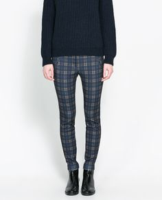 Checked Trousers with Piping On Pocket by Zara