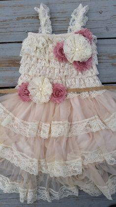 Shabby Chic Dusty Rose Flower Girl Lace Dress/Rustic Flower Girl Cream-Wheat Cream Flowergirl/Country Wedding-Mauve-Dusty Rose Flower Girl