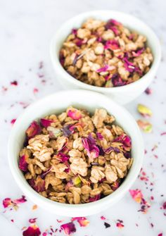 Tahini Granola with Rose Petals and Pistachios | www.sweetpotatosoul ...