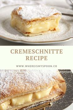 The best cremeschnitte recipe - two layers of puff pastry filled with a heavenly creamy vanilla cream. The best cremeschnitte - two layers of puff pastry filled with a heavenly creamy vanilla cream. Cream Cheese Filling, Cream Pie, Romanian Desserts, Romanian Recipes, Turkish Recipes, Scottish Recipes, How To Cook Ham, Puff Pastry Recipes, Vanilla Cream